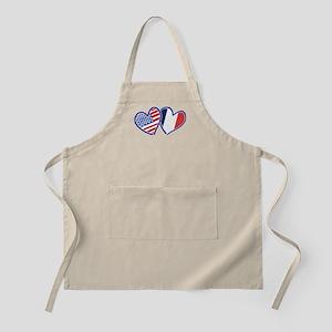 USA France Love Hearts Apron