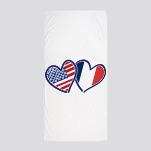 USA France Love Hearts Beach Towel