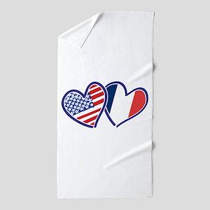 Usa France Love Hearts Beach Towel