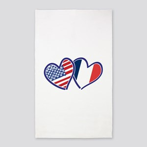 USA France Love Hearts Area Rug