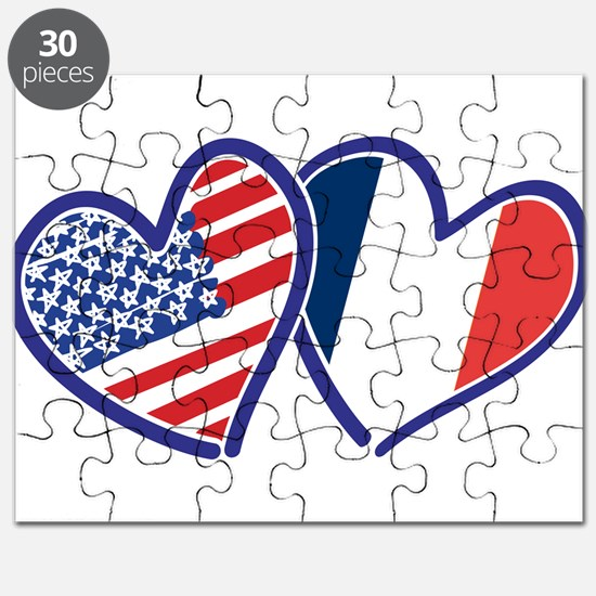 USA France Love Hearts Puzzle