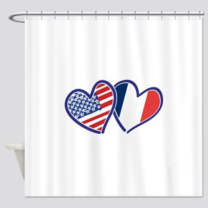 USA France Love Hearts Shower Curtain