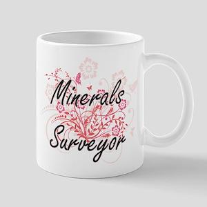 Minerals Surveyor Artistic Job Design with Fl Mugs