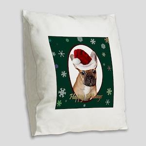 Christmas French Bulldog Burlap Throw Pillow