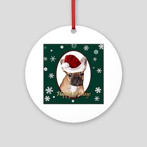 Christmas French Bulldog Round Ornament