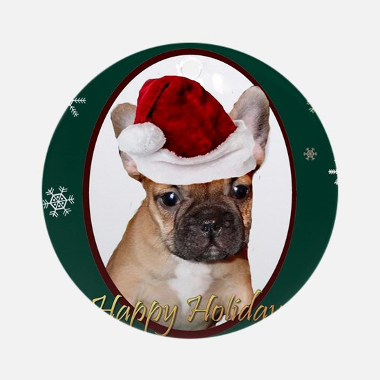 Christmas French Bulldog Round Ornament