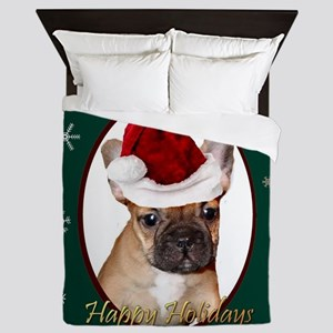 Christmas French Bulldog Queen Duvet