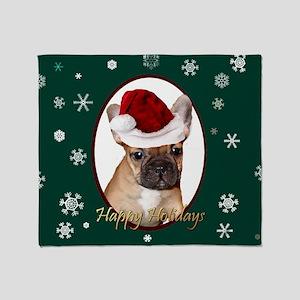 Christmas French Bulldog Throw Blanket