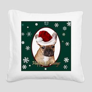 Christmas French Bulldog Square Canvas Pillow