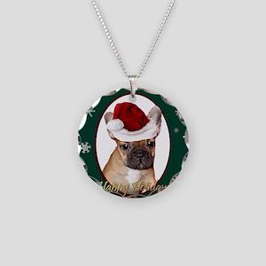 Christmas French Bulldog Necklace Circle Charm