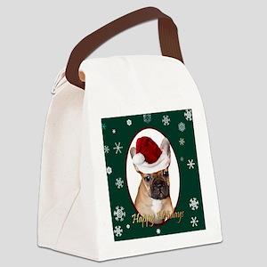 Christmas French Bulldog Canvas Lunch Bag