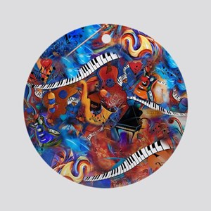 Piano Musical Instruments Colorful Round Ornament
