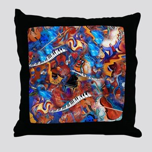 Piano Musical Instruments Colorful Mu Throw Pillow