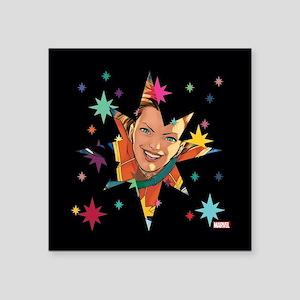 "Captain Marvel Stars Square Sticker 3"" x 3"""