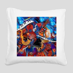 Piano Music Guitar Sax Musici Square Canvas Pillow