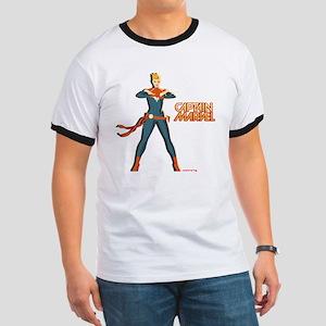 Captain Marvel Standing Ringer T