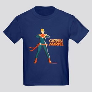 Captain Marvel Standing Kids Dark T-Shirt