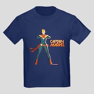 Captain Marvel Standing Kids Dark T-Shirt