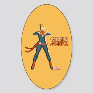 Captain Marvel Standing Sticker (Oval)