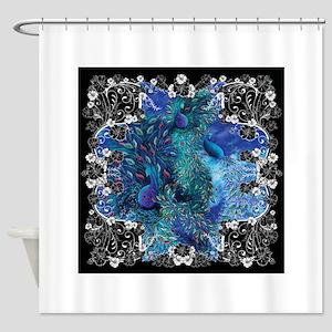 Black White Print Peacock Flower Shower Curtain