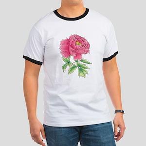 Pink Peony Watercolor Sketch T-Shirt
