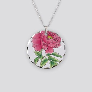 Pink Peony Watercolor Sketch Necklace Circle Charm