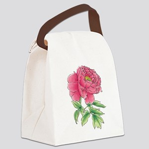 Pink Peony Watercolor Sketch Canvas Lunch Bag