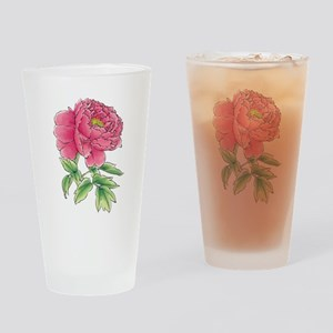 Pink Peony Watercolor Sketch Drinking Glass