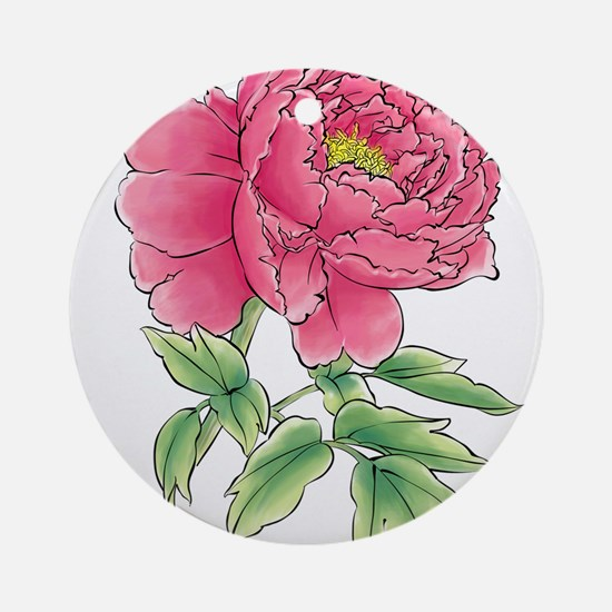Pink Peony Watercolor Sketch Round Ornament
