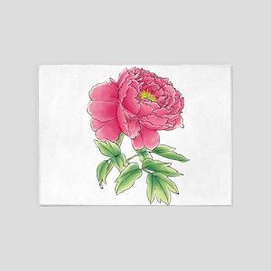 Pink Peony Watercolor Sketch 5'x7'Area Rug
