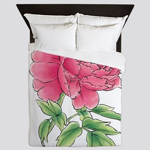Pink Peony Watercolor Sketch Queen Duvet