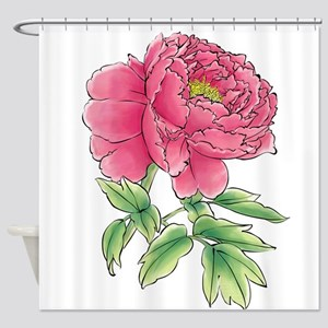 Pink Peony Watercolor Sketch Shower Curtain