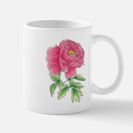 Pink Peony Watercolor Sketch Mugs