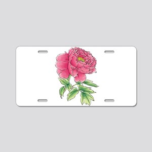 Pink Peony Watercolor Sketc Aluminum License Plate