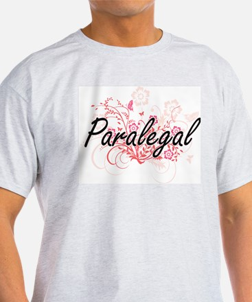 Paralegal Artistic Job Design with Flowers T-Shirt