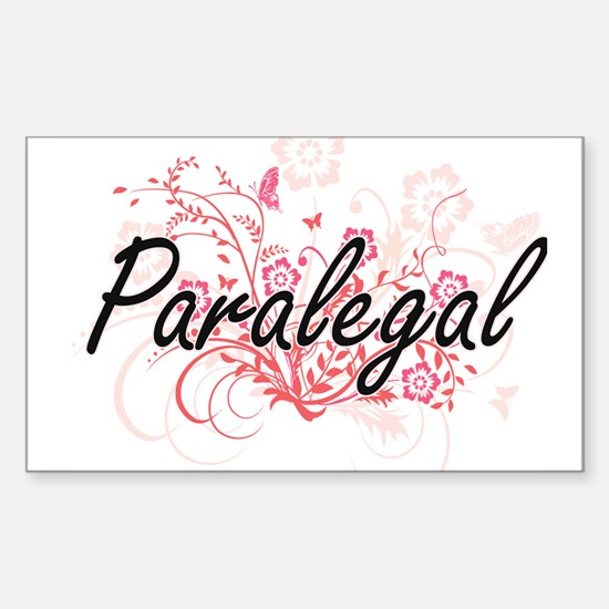 Paralegal Artistic Job Design with Flowers Decal