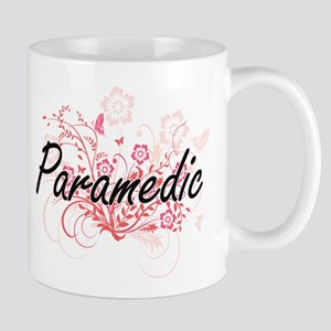 Paramedic Artistic Job Design with Flowers Mugs