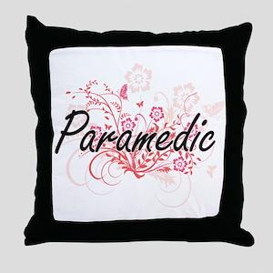 Paramedic Artistic Job Design with Fl Throw Pillow