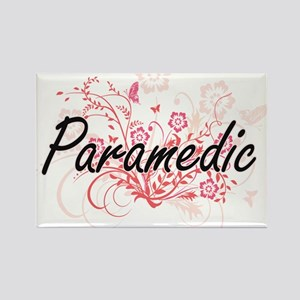 Paramedic Artistic Job Design with Flowers Magnets