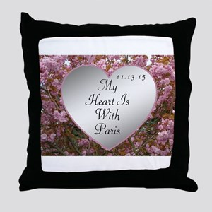 My Heart Is With Paris Throw Pillow