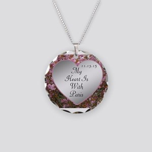 My Heart Is With Paris Necklace Circle Charm