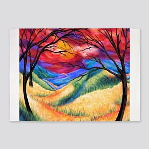 Sunset Landscape Print Colorful Jul 5'x7'Area Rug