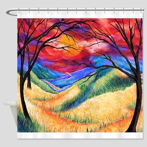 Sunset Landscape Print Colorful Jul Shower Curtain