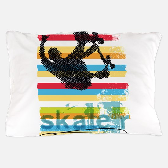 Skateboarder Ink Sketch Jump on Rainbo Pillow Case
