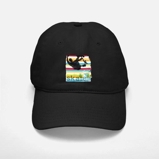 Skateboarder Ink Sketch Jump on Rainbow Baseball Hat