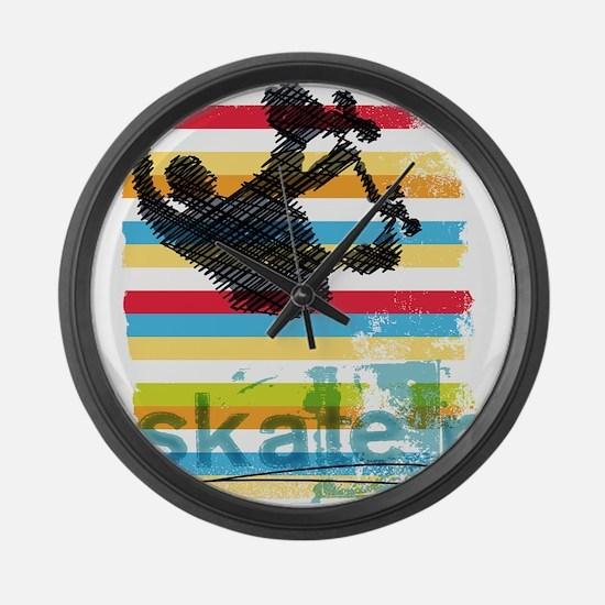 Skateboarder Ink Sketch Jump on R Large Wall Clock