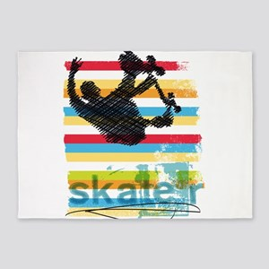 Skateboarder Ink Sketch Jump on Rai 5'x7'Area Rug