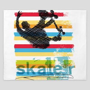 Skateboarder Ink Sketch Jump on Rainbow King Duvet