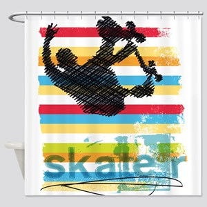 Skateboarder Ink Sketch Jump on Rai Shower Curtain