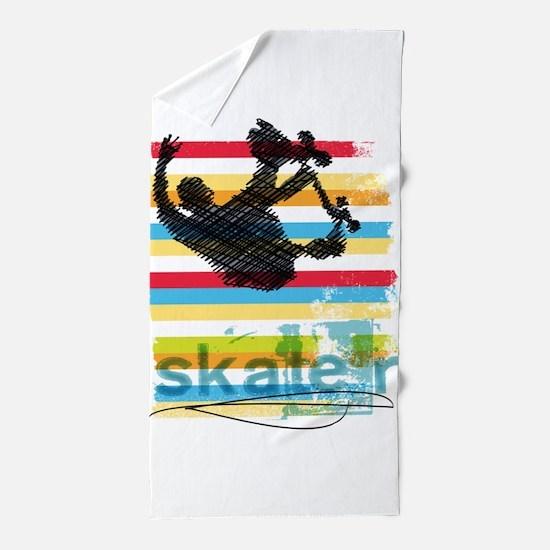 Skateboarder Ink Sketch Jump on Rainbo Beach Towel